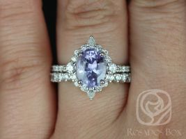 Rosados Box Ready to Ship Jadis 2.34cts 14kt White Gold Oval Lavender Purple Sapphire and Diamonds Star Halo Wedding Set