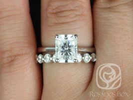 Rosados Box DIAMOND FREE Skinny Nancy 9x7mm & Haylie 14kt White Gold Radiant F1- Moissanite Wedding Set