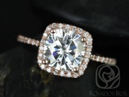 SALE Rosados Box Ready to Ship Catalina 7.5mm 14kt Rose Gold Cushion FB Moissanite and Diamond Halo Engagement Ring