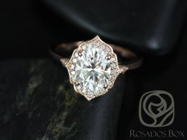 Rosados Box Ready to Ship Mae 9x7mm 14kt WHITE Gold Oval F1- Moissanite and Diamond Halo WITHOUT Milgrain Engagement Ring