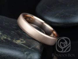 Rosados Box Dax 5mm 14kt Rose Gold Rounded Pipe Matte or High Finish Band (Chic Classics Collection)