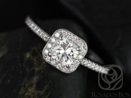 SALE Rosados Box Ready to Ship Camila 5mm 14kt White Gold Cushion FB Moissanite and Diamonds Halo Engagement Ring