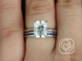 Rosados Box DIAMOND FREE Skinny Nancy 9x7mm & Judy 14kt White Gold Radiant F1- Moissanite and Blue Sapphire Wedding Set