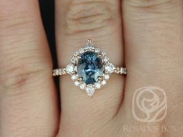 Rosados Box Ready to Ship Jadis 2.15cts 14kt Rose Gold Oval Denim Blue Sapphire and Diamonds Star Halo Engagement Ring