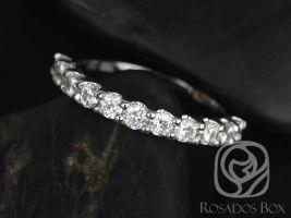 Rosados Box DIAMOND FREE Cori 2.5mm 14kt White Gold Round F1 Moissanite HALFWAY Eternity Band