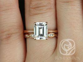 Rosados Box Skinny Norma 9x7mm & Ember 14kt Rose Gold Emerald F1- Moissanite and Diamonds Wedding Set