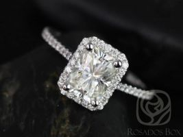 SALE Rosados Box Ready to Ship Brianna 8x6mm 14kt ROSE Gold Radiant FB Moissanite and Diamonds Halo Engagement Ring