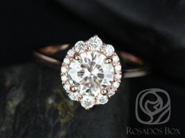 Rosados Box Eluma 7mm 14kt  Rose Gold Round F1- Moissanite and Diamonds Shield Graduated Halo Engagement Ring