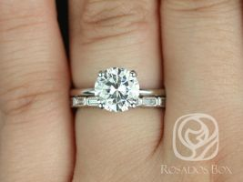 Rosados Box Sandra 8mm & Rihani 14kt White Gold Round F1- Moissanite and Diamond Non-Cathedral Wedding Set