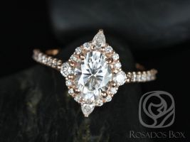 Rosados Box Jadis 8x6mm 14kt Rose Gold Oval F1- Moissanite and Diamonds Star Halo Engagement Ring