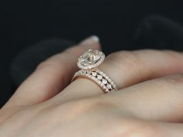 Jessica & Petite Bubble Breathe 14kt Oval Peach Sapphire and Diamonds Halo TRIO Wedding Set