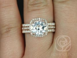 Rosados Box Barra 9mm 14kt YELLOW Gold Round White Topaz Engagement Ring & TRIO Wedding Set Halo Cushion w/ Diamonds - Ready to Ship