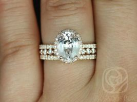 Rosados Box Ready to Ship Federella 2.36cts & Petite Naomi 14kt Oval Peach Sapphire and Diamond Halo TRIO Wedding Set
