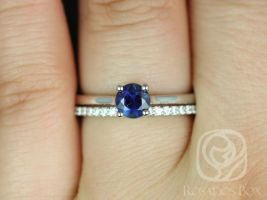 Rosados Box Ready to Ship Skinny Flora 0.79cts & Marcelle 14kt White Gold Round Blue Sapphire Classic Diamonds Wedding Set