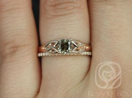 Rosados Box Ready to Ship Conflict Free MaryBeth 0.66cts & Romani 14kt Rose Gold Cushion Cognac Diamond Wedding Set