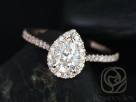 Rosados Box Ready to Ship Tabitha 7x5mm 14kt YELLOW Gold Pear FB Moissanite and Diamonds Halo Engagement Ring