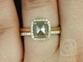 Rosados Box Ready to Ship Delana 1.50ct 14k Yellow Gold Cushion Rose Cut Diamonds Halo Wedding Set