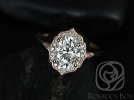 SALE Rosados Box Ready to Ship Mae 9x7mm & Ultra Petite Leah 14kt Rose Gold Oval FB Moissanite and Diamond Halo WITH Milgrain Wedding Set