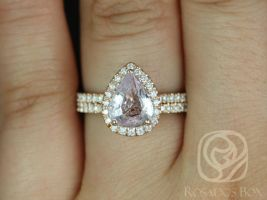 Toni 1.72ct 14kt Rose Gold Peach Sapphire and Diamonds Wedding Set