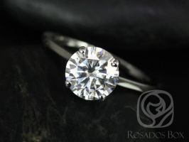 Rosados Box Piper 8mm 14kt White Gold Round F1- Moissanite Classic Thin Skinny Engagement Ring