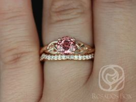 Rosados Box Ready to Ship Cassidy 1.34cts 14kt Rose Gold Round Rustic Fire Red Sapphire and Diamonds Celtic Wedding Set