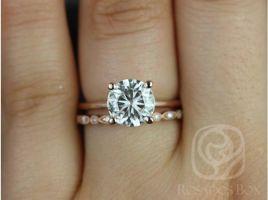 Rosados Box Skinny Alberta 8mm & Gwen 14kt Rose Gold Round Forever One Moissanite Diamond Solitaire Wedding Set