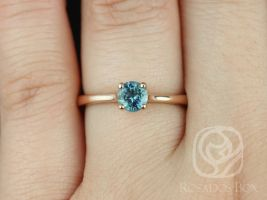 Rosados Box Ready to Ship Skinny Flora 0.65cts 14kt Rose Gold Round Ocean Teal Sapphire Classic Engagement Ring