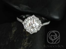 SALE Rosados Box Ready to Ship Rori 7mm 14kt White Gold Cushion FB Moissanite and Diamond Kite Halo WITHOUT Milgrain Engagement Ring