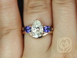 SALE Rosados Box Ready to Ship Kasey 10x7mm 14kt Rose Gold Pear FB Moissanite and Blue Sapphire 3 Stone Wedding Set