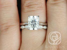 Rosados Box Skinny Nancy 9x7mm & Christie 14kt White Gold Radiant F1- Moissanite and Diamonds Wedding Set