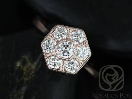 Rosados Box Ready to Ship Mosaic Grande 14kt Rose Gold WITH Milgrain Diamonds Cluster Ring