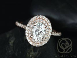 SALE Rosados Box Ready to Ship Cara 8x6mm 14kt Rose Gold Oval FB Moissanite and Diamonds Double Halo Engagement Ring