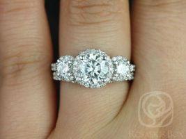 SALE Rosados Box Ready to Ship Dita 7mm 14kt White Gold Round FB Moissanite and Diamonds 3 Stone Halo Wedding Set