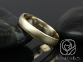 Rosados Box Steve 4mm 14kt Yellow Gold Oval Plain Non-Comfort Fit Matte or High Finish Band (Chic Classics Collection)