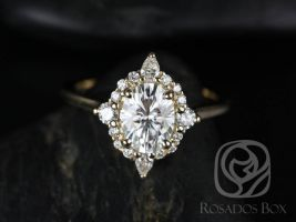 Rosados Box Maris 8x6mm 14kt Rose Gold Oval F1- Moissanite and Diamonds Star Halo Engagement Ring