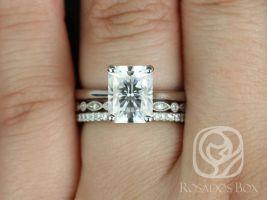 Rosados Box Skinny Nancy 9x7mm, Gwen, & Kubian 14kt White Gold Radiant F1- Moissanite and Diamonds TRIO Wedding Set