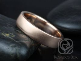 Rosados Box Dax 6mm 14kt Rose Gold Rounded Pipe Matte or High Finish Band (Chic Classics Collection)