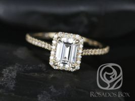 SALE Rosados Box Ready to Ship Lisette 7x5mm 14kt Yellow Gold Rectangle Emerald Cut FB Moissanite and Diamonds Halo Engagement Ring