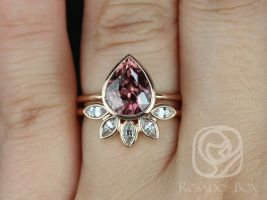 Rosados Box Ready to Ship DIAMOND FREE Isla 3.44cts & Petunia 14kt Rose Gold Pear Raspberry Zircon Bezel Petal Wedding Set