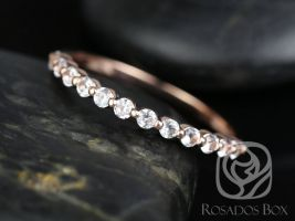 Rosados Box Petite Naomi/Petite Bubble & Breathe 14kt Rose Gold White Sapphire HALFWAY Eternity Band