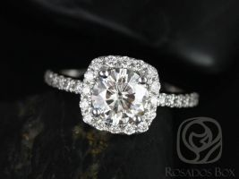 SALE Rosados Box Ready to Ship Colbie 7mm 14kt White Gold Round FB Moissanite and Diamond Cushion Halo Engagement Ring