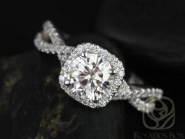 SALE Rosados Box Ready to Ship Josephine 7mm 14kt White Gold Round FB Moissanite and Diamonds Twisted Cushion Halo Engagement Ring