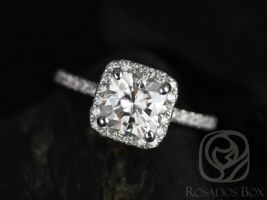 SALE Rosados Box Ready to Ship Pernella 7mm 14kt White Gold Cushion FB Moissanite and Diamonds Halo Engagement Ring