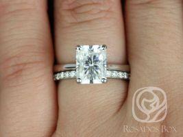 Rosados Box Skinny Nancy 9x7mm & Taylor 14kt White Gold Radiant F1- Moissanite and Diamonds Wedding Set