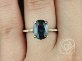 Rosados Box Ready to Ship Blake 3.23cts 14kt Rose Gold Oval Deep Teal Blue Sapphire Classic Engagement Ring