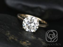 SALE Rosados Box Ready to Ship Skinny Flora 9.5mm 14kt Yellow Gold Round FB Moissanite Tulip Cathedral Solitaire Engagement Ring