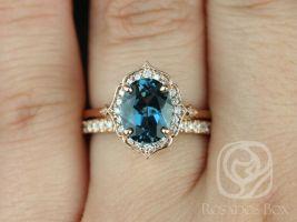 Rosados Box Mae 9x7mm & Pernella 14kt Rose Gold Oval London Blue Topaz and Diamond Halo WITHOUT Milgrain Wedding Set
