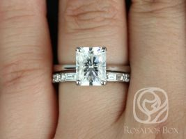 Rosados Box Skinny Nancy 9x7mm & Gabriella 14kt White Gold Radiant F1- Moissanite and Diamonds Wedding Set