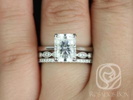 Rosados Box Skinny Nancy 9x7mm, Christie, & Kubian 14kt White Gold Radiant F1- Moissanite and Diamonds TRIO Wedding Set