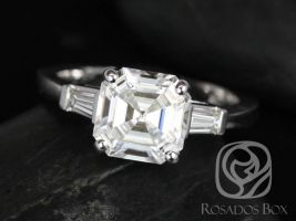 Rosados Box Fae 8mm 14kt White Gold Asscher F1- Moissanite and Diamond Baguette Engagement Ring